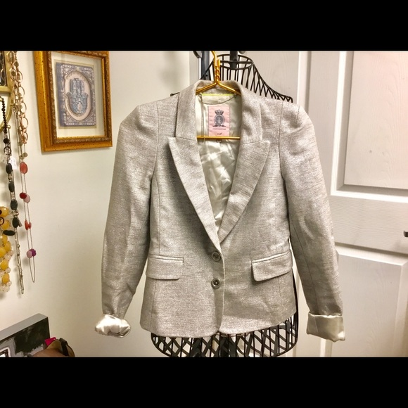 Juicy Couture Jackets & Blazers - Juicy Couture Silver blazer Italian fabric size S